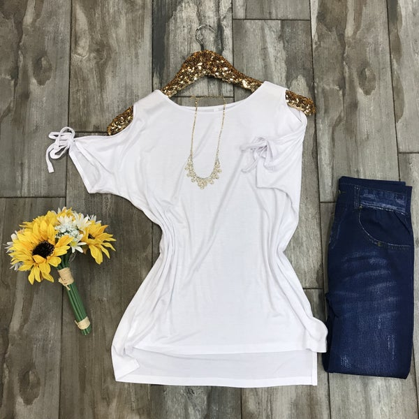 White cold shoulder with sleeve tie