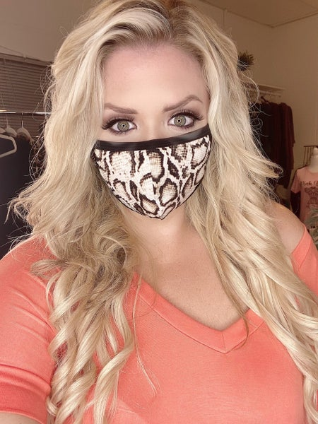 Effortless Style Black and Brown Print Face Mask *Final Sale*