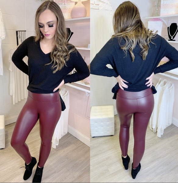Stay With Me Pleather Waistband Leggings