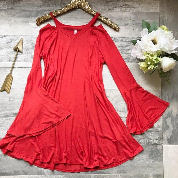 Trumpet Sleeve Dress Tangerine
