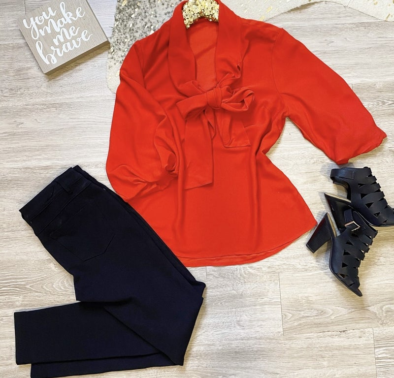 Some Say Love Red Tie Blouse