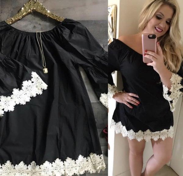 Black dress with crochet trim