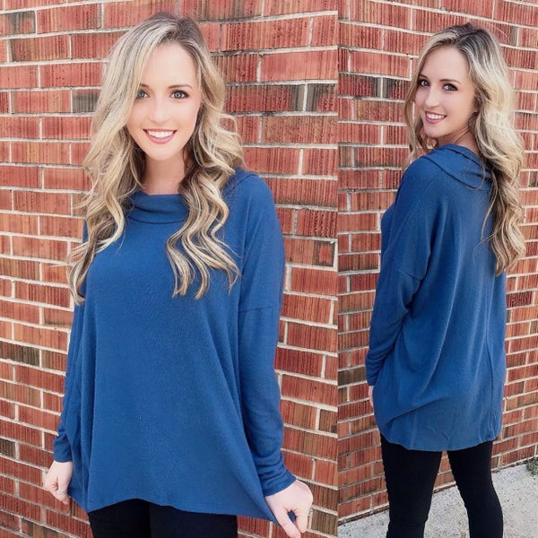 Moonlight Blue Cowl Neck Sweater