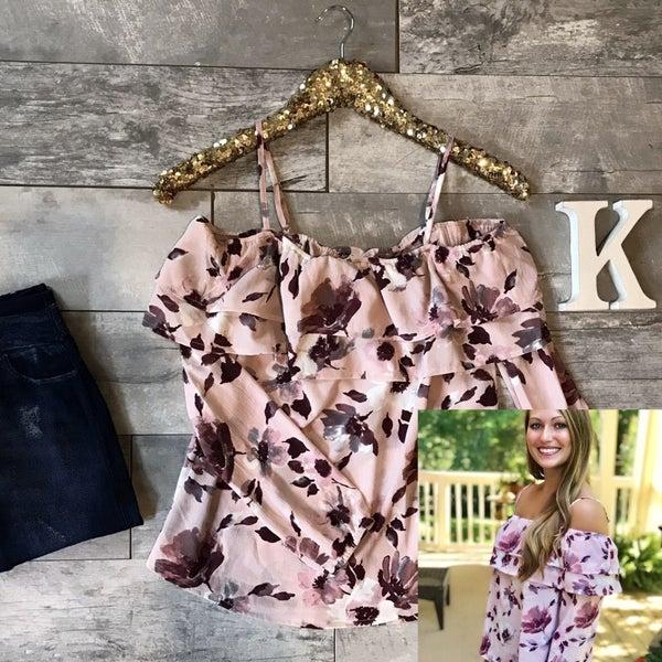Pink Floral Off Shoulder Top