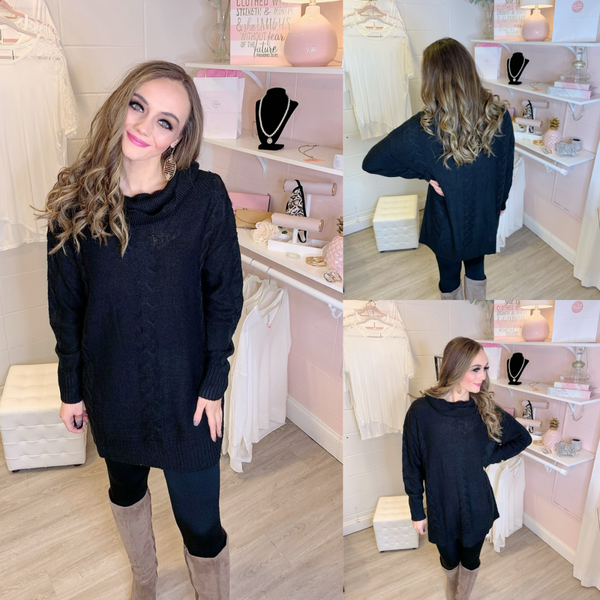 Forever in Your Arms Black Sweater Dress
