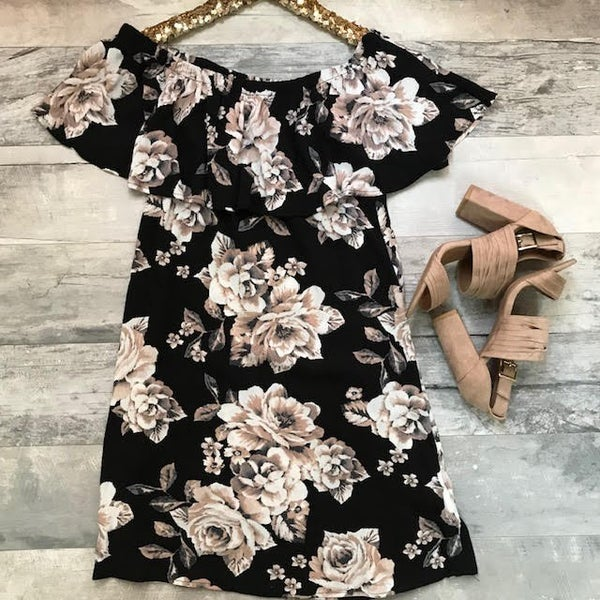 Black and Taupe Floral Dress