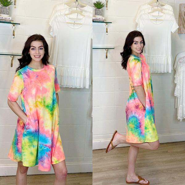Tie Dye Print Dress with Pockets