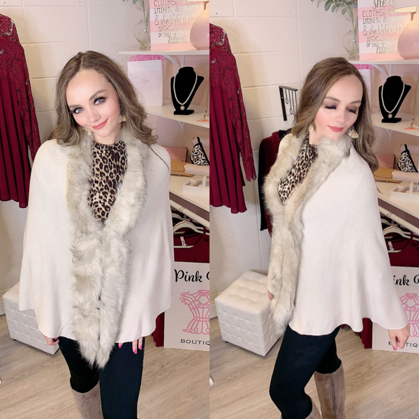 Love of the Season Faux Fur Pullover Beige