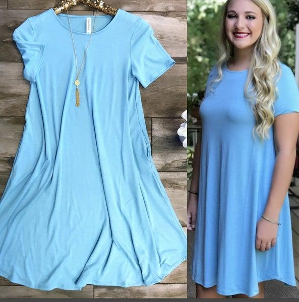 Sky Blue Pocket Tee Dress