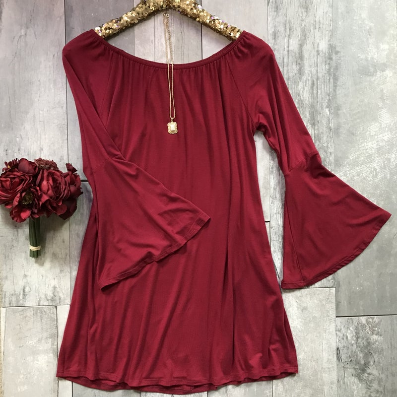 Wine off Shoulder Dress