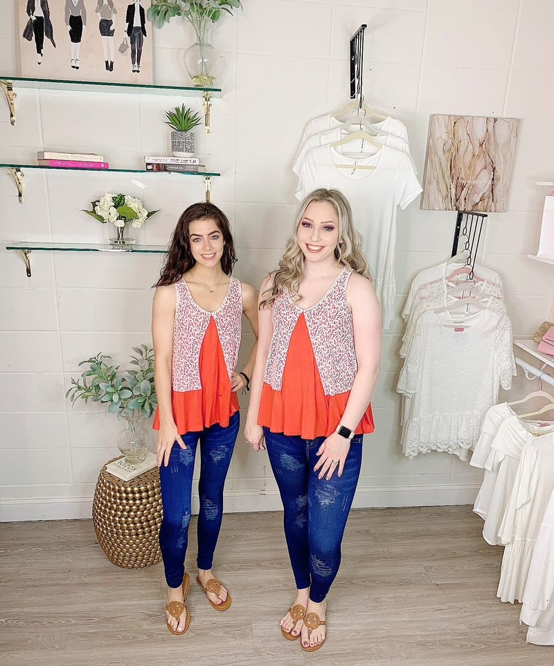 Harbor Lights Coral and White Top