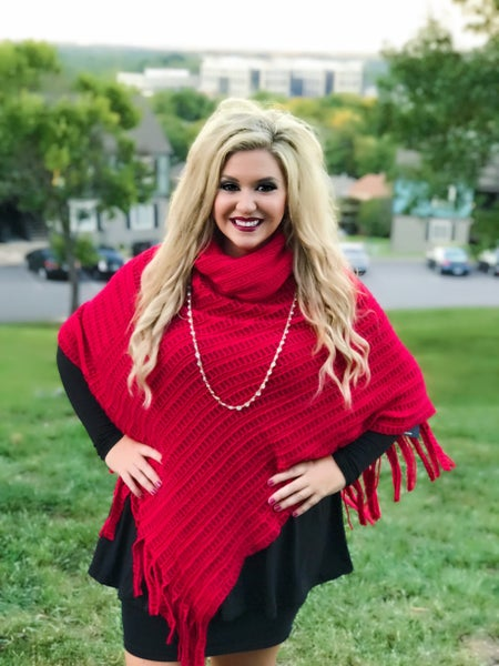 Red Cowl Neck Fringed Poncho