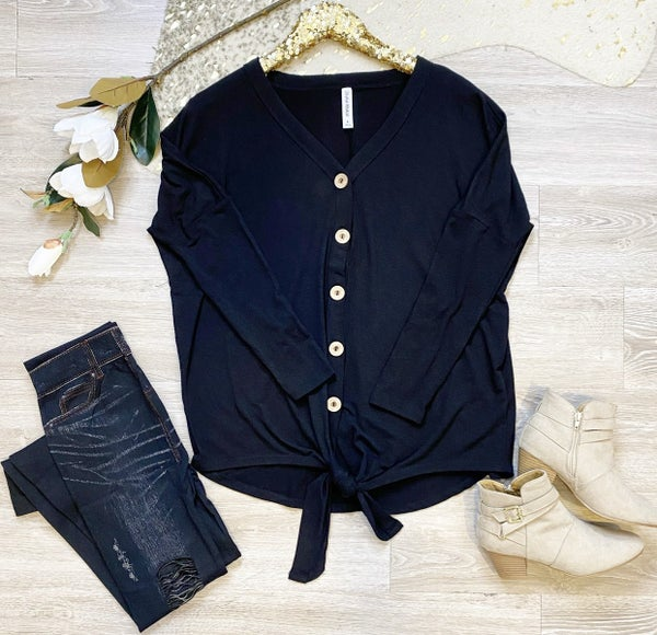 We Owed The Night Button Tie Top Black