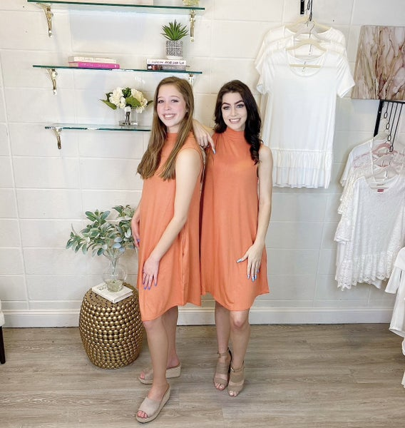 Hotel California Sleeveless Mock Neck Dress Orange