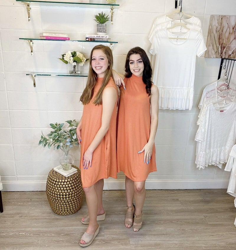 Hotel California Sleeveless Mock Neck Dress Orange *Final Sale*