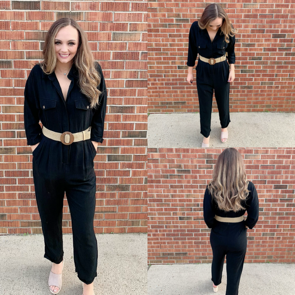 Magnificent Night Black Belted Jumpsuit
