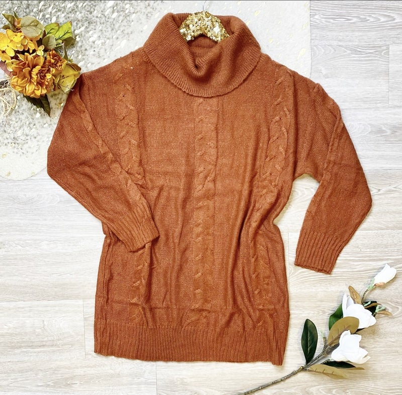 Forever in Your Arms Burnt Orange Sweater Dress