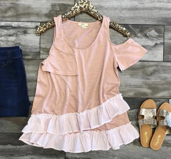 Cold Shoulder with Striple Ruffle Top
