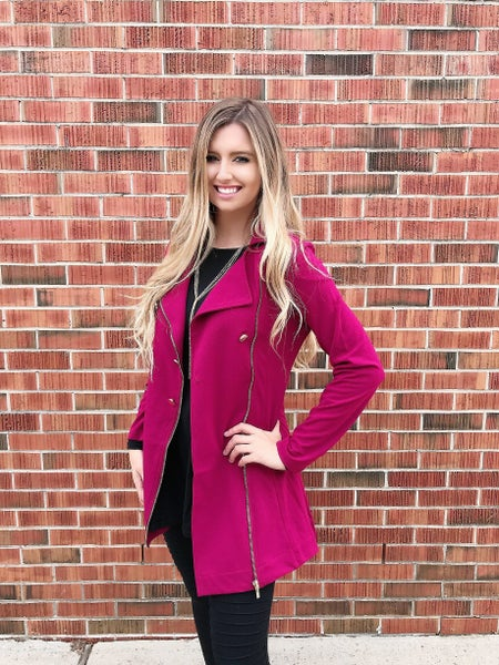 Red Stretchy Peacoat