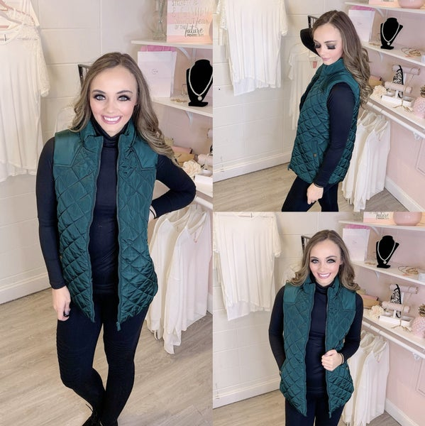 An Extra Layer Quilted Hunter Green Vest *Final Sale*