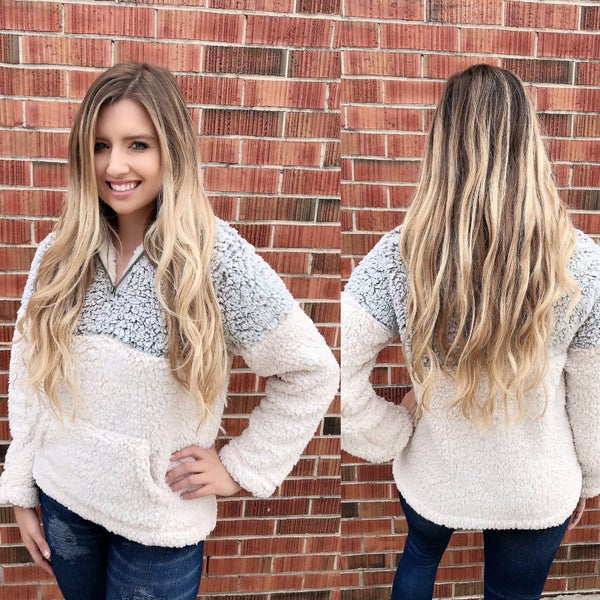 In Love With Your Heart Grey Sherpa Pullover *Final Sale*