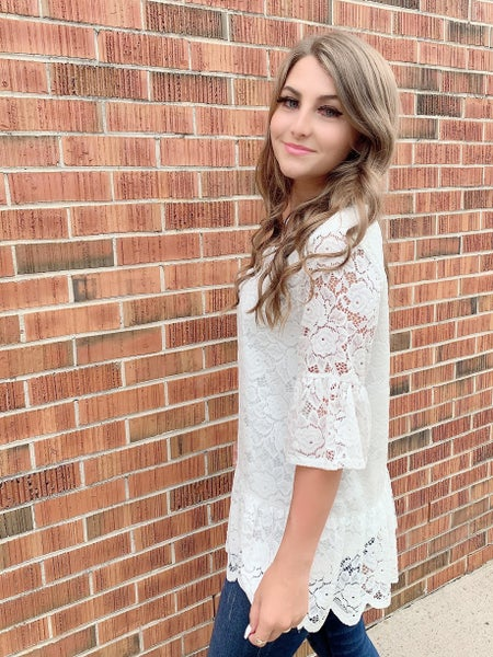 White Lace Lined Top