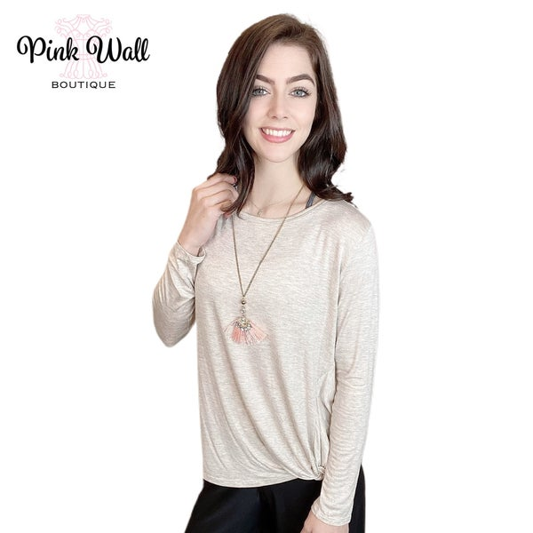 Just Be Beautiful Oatmeal Knot Top