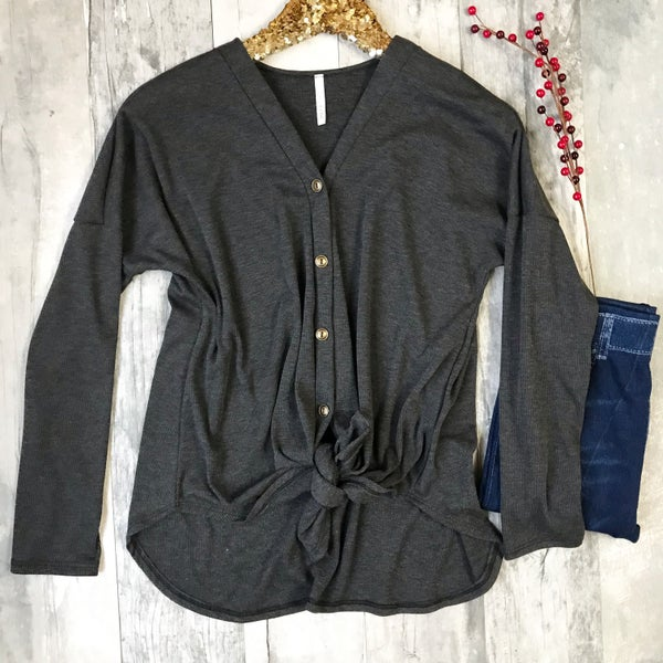 Charcoal Button Knot Sweater