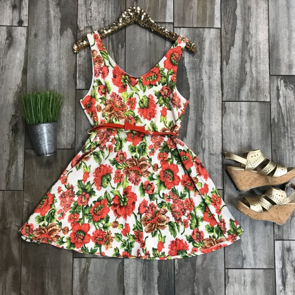 Coral, Green, Ivory Floral Print Dress