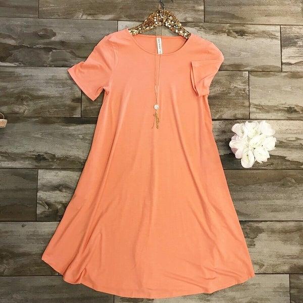 Deep Coral Pocket Tee Dress