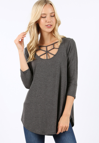 Time Of Your Life Web Tunic Charcoal