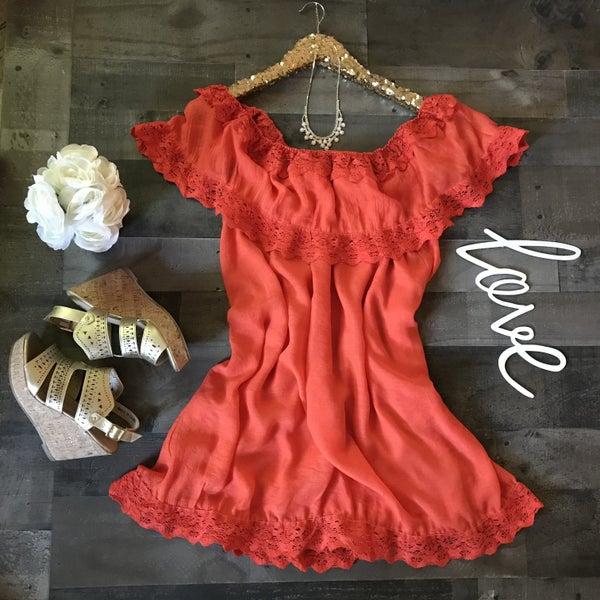 Tangerine off shoulder crochet dress