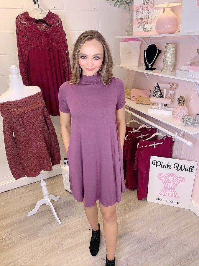 Grant You A Wish Short Sleeve Dress Plum