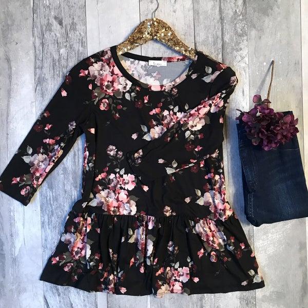 Black Floral Top *Final Sale*
