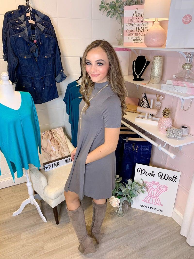 Grant You A Wish Short Sleeve Dress Grey