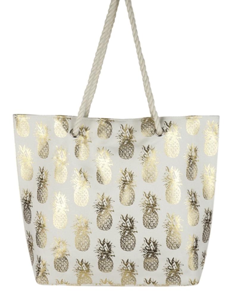 Forever Pool Days Pineapple Foil Beach Bag