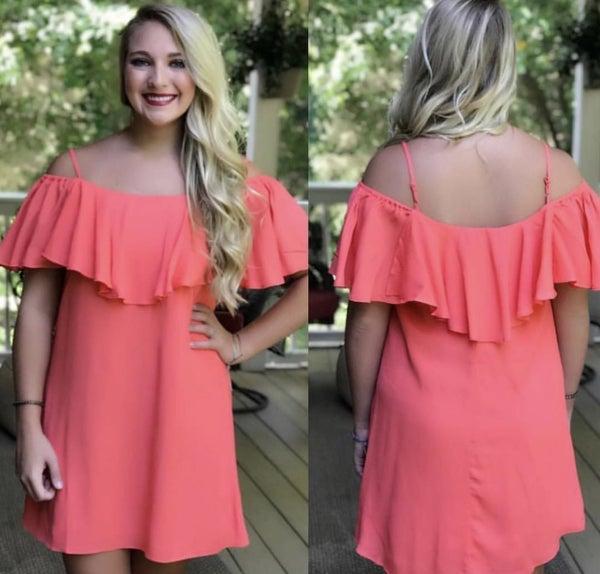 Bright Coral Dress *Final Sale*