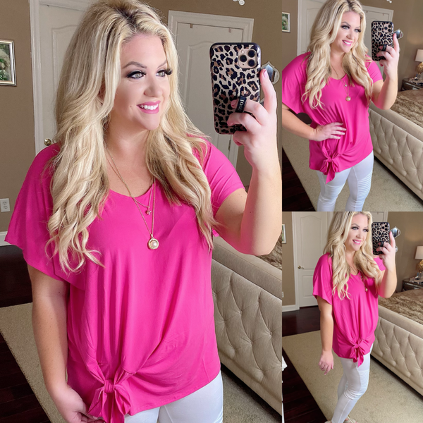 Bright Pink Side Bow Top
