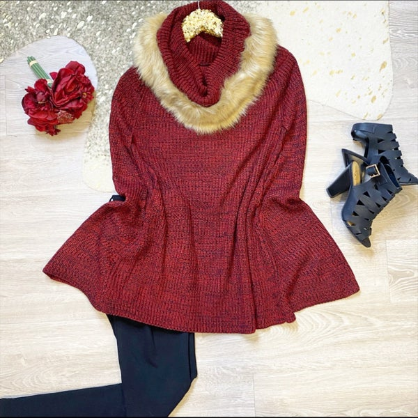 My Best Wish Fur Tunic Sweater Red