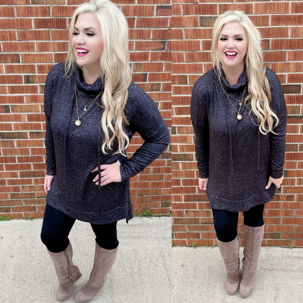 Dear To My Heart Funnel Neck Sweater Charcoal