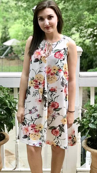 Sleeveless Pleated Floral Print Pocket Dress