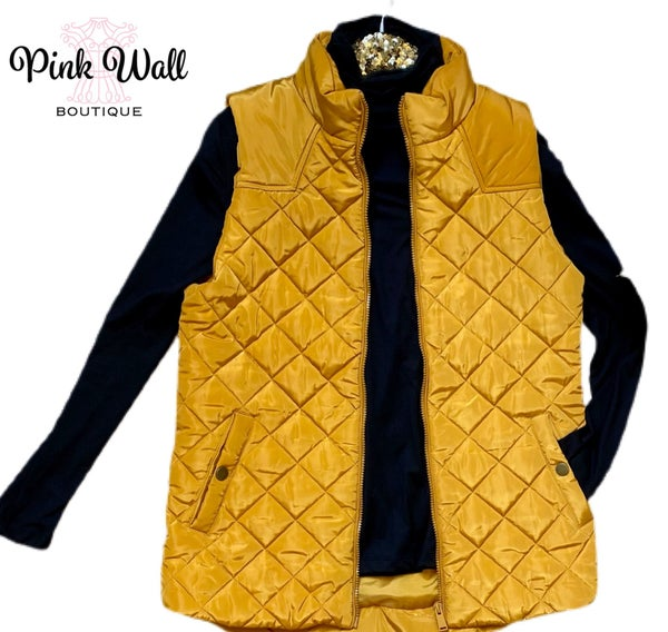 An Extra Layer Quilted Golden Puffer Vest *Final Sale*