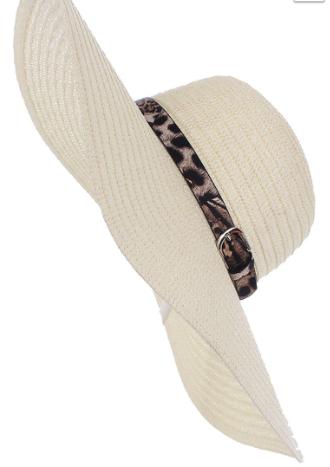 Straw Hat with Leopard Brim