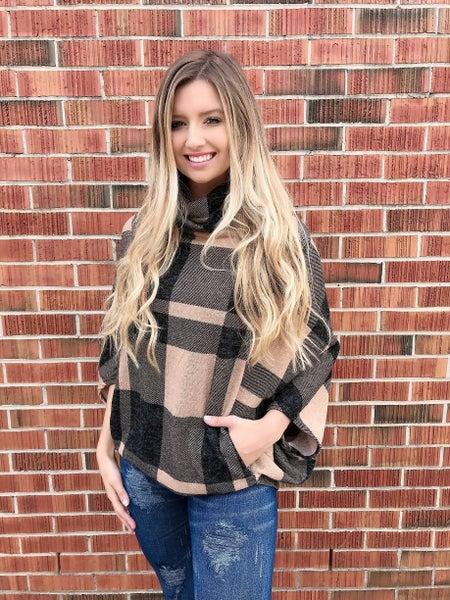 Plaid Camel Poncho Sweater