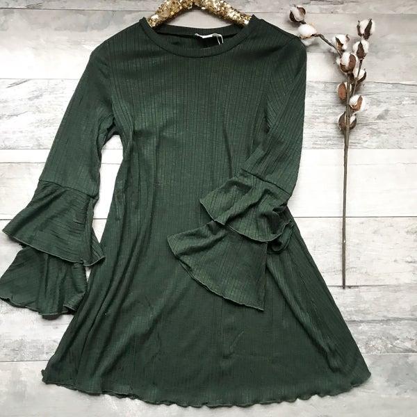 Hunter Green Bell Sleeve Dress