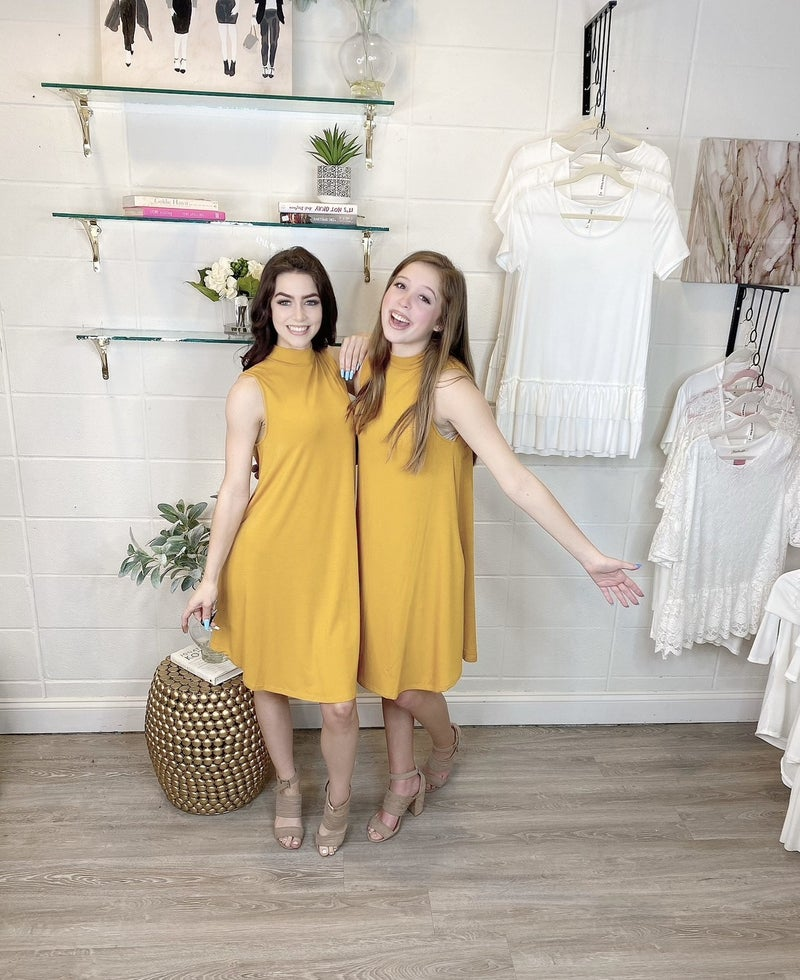 Hotel California Sleeveless Mock Neck Dress Mustard *Final Sale*