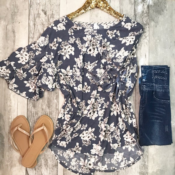 Blue and Taupe Floral Tunic