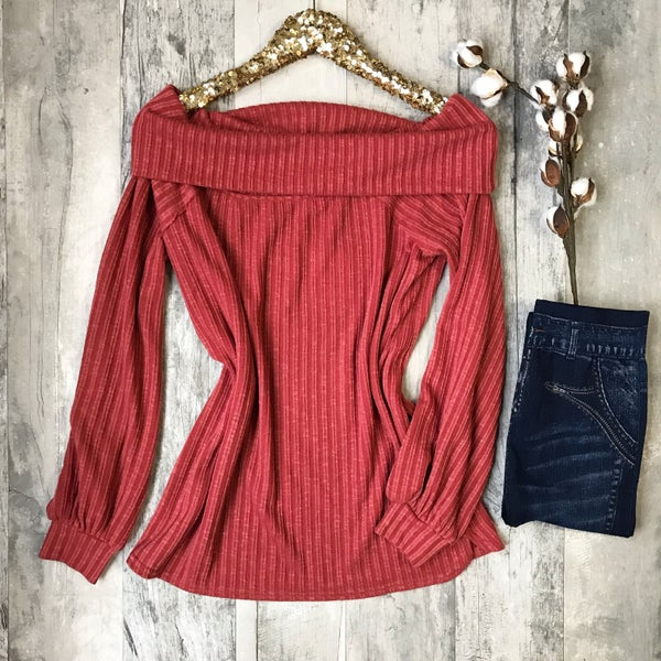 Rust Off The Shoulder Sweater