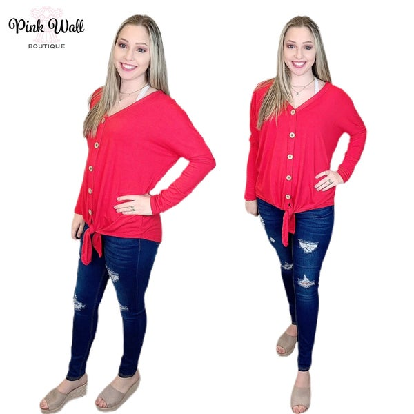 We Owed The Night Button Tie Top Ruby