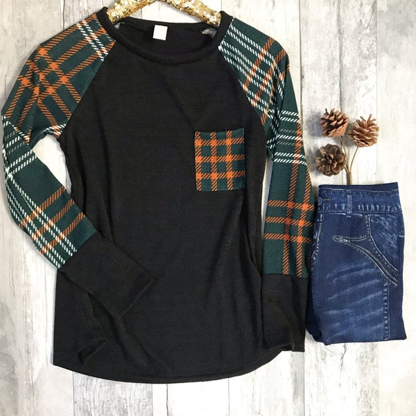 Black and Green Plaid Top *Final Sale*